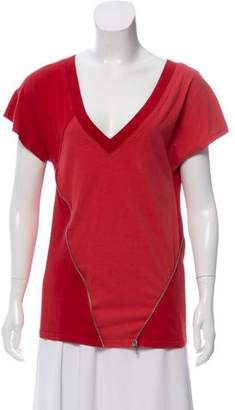 Marc by Marc Jacobs Zipper-Accent Short Sleeve Top