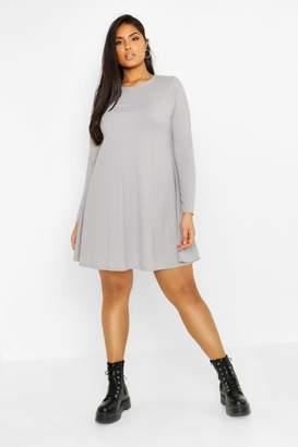 boohoo Plus Rib Swing Long Sleeve Dress