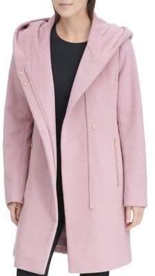 Karl Lagerfeld Paris Hooded Wool-Blend Coat