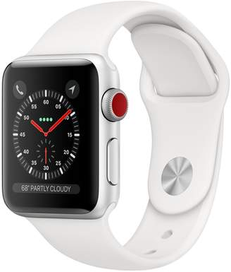 AppleWatch Series3 GPS+Cellular, 38mm Silver Aluminum Case with White Sport Band
