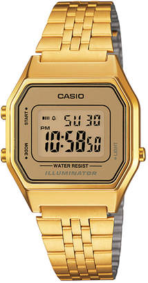 Casio Women's Digital Vintage Gold-Tone Stainless Steel Bracelet Watch 39x39mm LA680WGA-9MV
