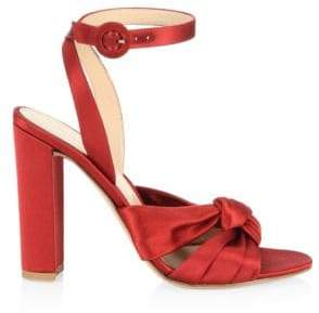 Gianvito Rossi Knot Silk Ankle Strap Pumps
