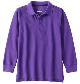 Wonder Nation Boys School Uniform Long Sleeve Double Pique Polo