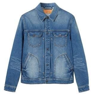 MANGO Faded medium wash denim jacket
