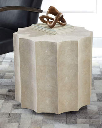 REGINA ANDREW Marilyn Faux Shagreen Scalloped Side Table