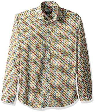 Bugatchi Men's Fitted Printed Grand Prix Motif Spread Collar Shirt