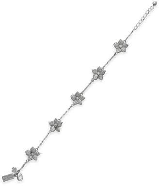 Kate Spade Silver-Tone Pave Flower Link Bracelet