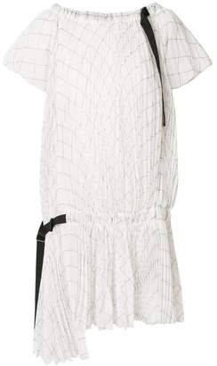 Sacai white plisse shirt dress