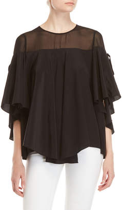 Badgley Mischka Black Georgette Top