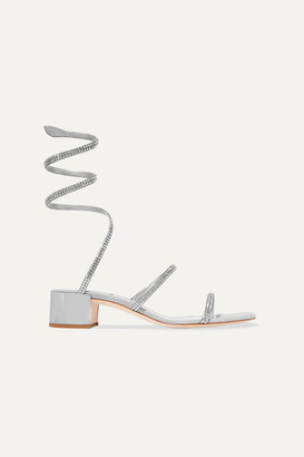 Rene Caovilla Cleo Crystal-embellished Satin And Suede Sandals - Silver
