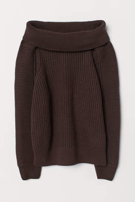 H&M Off-the-shoulder Sweater - Brown