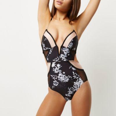 River IslandRiver Island Womens Black floral print plunge swimsuit