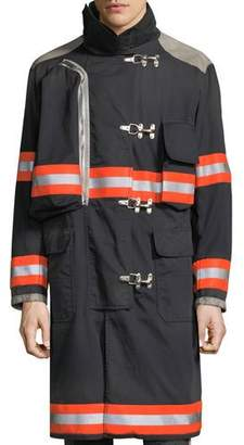 Calvin Klein Men's Resin-Coated Distressed Fireman Jacket