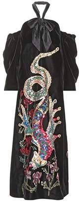 Sequinned velvet gown