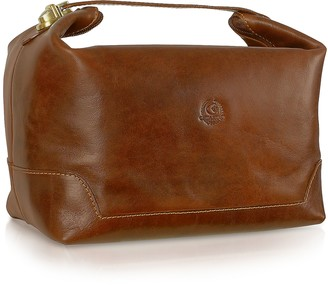Chiarugi Handmade Brown Genuine Italian Leather Toiletry Travel Case