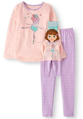 Komar Kids Girls' Ballerina 2pc Pajama Set With Matching Doll Pajama (Little Girls & Big Girls)