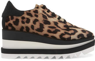 Stella McCartney Elyse Faux Leather-trimmed Leopard-print Satin Platform Brogues - Brown