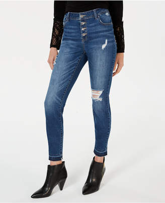 INC International Concepts I.n.c. High-Rise Button-Front Skinny Jeans
