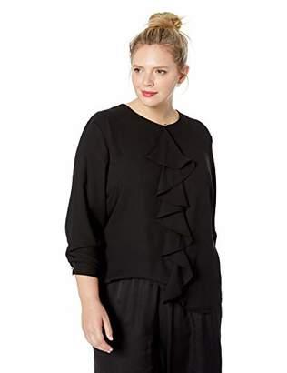 Nine West Women's Plus Size Long Sleeve Ruffle Front Jewel Neck Crepe Blouse