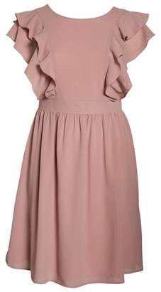 LOST INK Ruffle Sleeve Fit & Flare Dress
