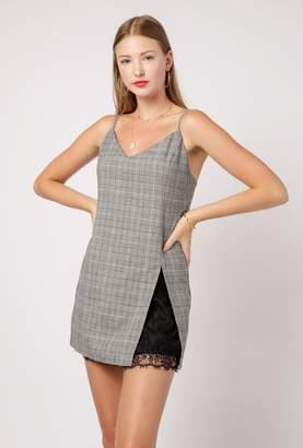 Azalea Plaid Slip Dress w/ Lace