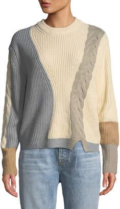 Few Moda Colorblock Cable-Knit Sweater