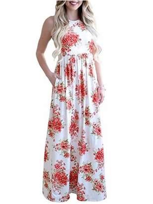 Lovaru Women Sleeveless Floral Print Casual Bench Long Dress