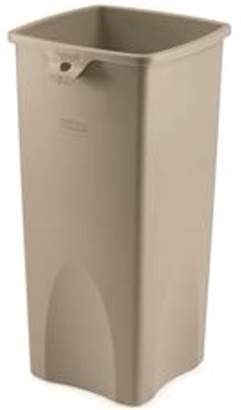 Rubbermaid Untouchable Square Trash Can, Beige, 23 Gallons
