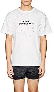 "Satisfy Men's ""Stay Possessed"" Distressed Cotton T-Shirt-White"