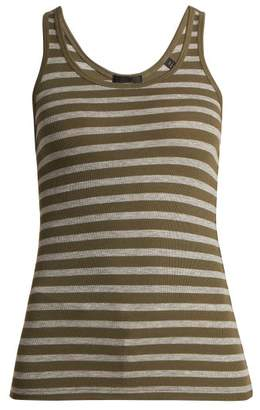 Atm - Striped Ribbed Jersey Tank Top - Womens - Dark Green Multi