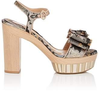 Salvatore Ferragamo Women's Bow-Embellished Jacquard Platform Sandals