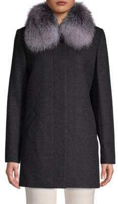 Sofia Cashmere Fox Fur-Trimmed Car Coat