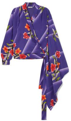 Balenciaga Floral-print Silk-crepon Wrap Top