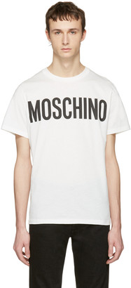 Moschino White Logo T-Shirt $175 thestylecure.com