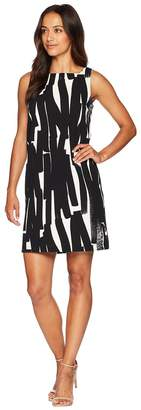 London Times Mini Zigzag Square Neck Shift Dress Women's Dress