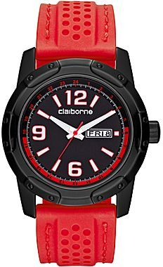 Claiborne Mens Red Rubber-Strap Watch