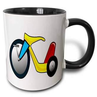 3dRose Red Yellow Blue Retro Big Wheel bike - Two Tone Black Mug, 11-ounce
