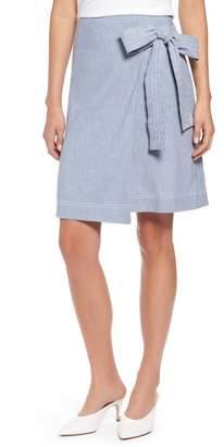 Halogen Wrap Style Chambray Linen Blend Miniskirt (Regular & Petite)