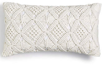 "Lucky Brand Hand Crafted Macrame Cotton 12"" x 20"" Decorative Pillow, Created for Macy's Bedding"