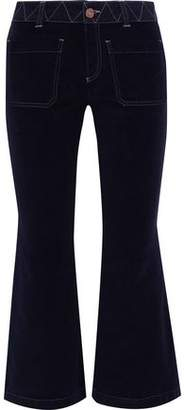See by Chloe Twill-Trimmed Stretch-Cotton Velvet Kick-Flare Pants
