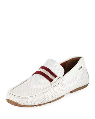 Bally Pearce Perforated Faux-Leather Driver, White
