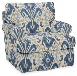 Pottery Barn Buchanan Roll Arm Upholstered Swivel Armchair - Print and Pattern