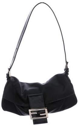 Fendi Leather-Trimmed Knit Baguette