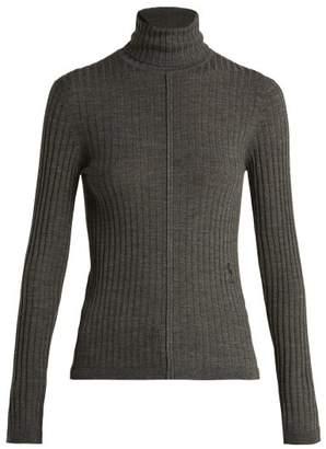 Chloé Ribbed Knit Wool Roll Neck Sweater - Womens - Dark Grey