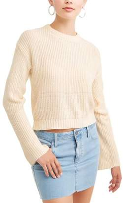 POOF-Slinky Poof! Juniors' Rib Knit Lace-Up Back Long Sleeve Sweater