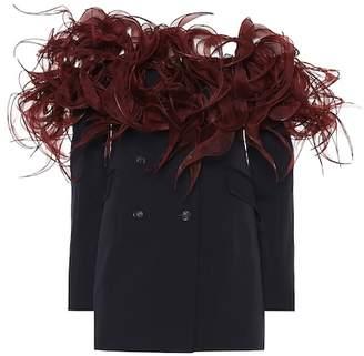 Y/Project Off-the-shoulder stretch wool blazer