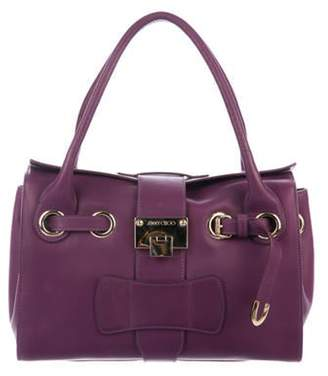 Jimmy Choo Leather Rosalie Satchel Violet Leather Rosalie Satchel