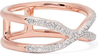 Monica Vinader Riva Wave Cross Rose Gold Vermeil Diamond Ring