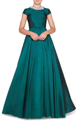 Mac Duggal Ieena for Cap-Sleeve Beaded High-Neck Satin Ball Gown