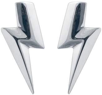 Lightning Bolt Edge Only - 3D Flat Top Earrings Silver